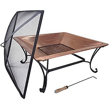 """Titan 33"""" Square Copper Fire Pit Wood Burning Patio Deck Grill with Log Grate"""