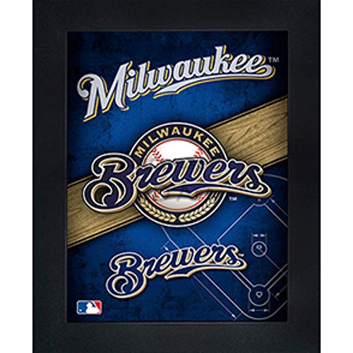Milwaukee Brewers 3D Poster Wall Art Decor Framed Print | 14.5x18.5 | Lenticular Posters & Pictures | Memorabilia Gifts for Guys & Girls Bedroom | MLB Baseball Sports Team Fan - Brewers Fashion Milwaukee