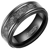 Tungsten Carbide Ring Black Carbon Fiber Braided Inlay Men's 8mm Wedding Band Ring (8)