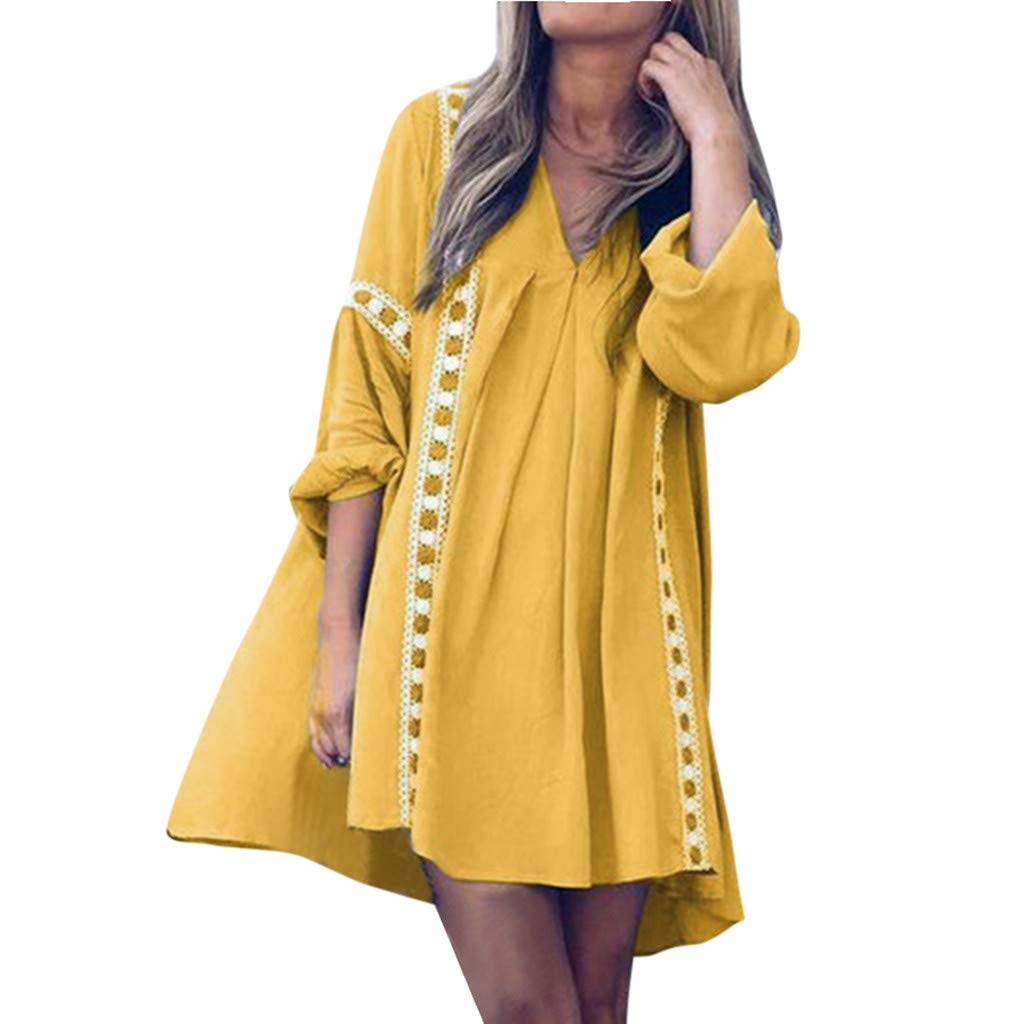 New in HAALIFE◕‿ Tunics Dress for Women 3/4 Roll Sleeve Autumn Dress Ladies Ruffle Loose Swing Casual Mini T-Shirt Dress Yellow by HAALIFE Women's Clothing