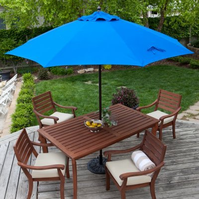 Galtech International 735AB53 Manual Lift - 9' Round Umbrella, Choose Fabric Color: 53: Pacific Blue, Choose Pole Finish: AB: Antique Bronze ()