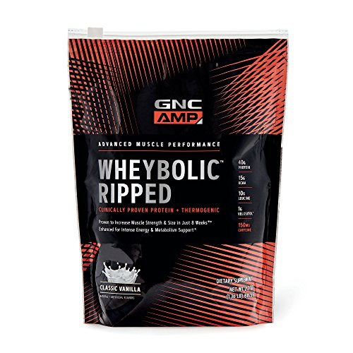 GNC AMP Wheybolic Ripped Whey Protein Powder, Classic Vanilla, 9 Servings, Contains 40g Protein and 15g BCAA Per Serving