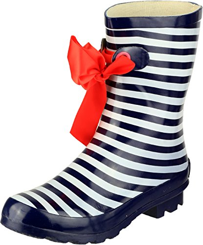 Cotswold Ladies Gatcombe Ribbon Wellington Wellies Boot Rubber Upper Footwear Stripe HQfOSASeWJ
