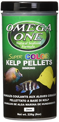Omega One Super Color Kelp Small Sinking Pellets 8 Ounce (226 Grams) for all Algae Grazers, Freshwater and Saltwater,  Made with Fresh Kelp and - Omega Enhancer
