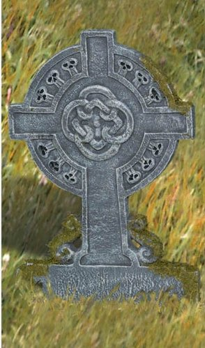 Creepy Cemetery Halloween Party Mossy Celtic Cross Tombstone Decoration, Foam, (Halloween Tombstone Design)