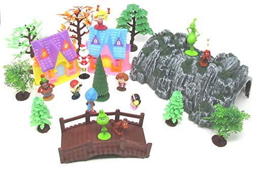 Playset The Grinch 24 Piece Featuring Grinch Character Figures and Decorative -