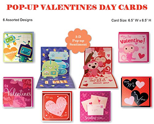 B-THERE Assorted Pop-Up Valentines Day Cards Box Set, 6 Varieties Between Adorable, Funny & Heart Warming Card Assortment for Him/Her