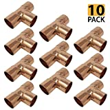 PROCURU 3/4-Inch Copper Tee 3/4'' x 3/4'' x 3/4'', NSF Certified Lead Free (3/4'', 10-Pack)