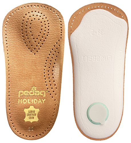pedag HOLIDAY Orthotic Inserts | 3/4 Length, Thin Leather, Ultra Light, Semi-Rigid Shoe Insoles with Metatarsal Pad and Heel Cushion, Tan, US (Best Pedag Insoles)
