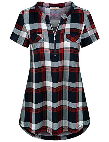 Baikea Summer Tops for Women, Ladies Cap Sleeve Notch Neck Stand Collar Blouses Curved Hemline Stretchy Geometric Plaid Tunic Elegant Casual Henley Shirts Red Blue XL