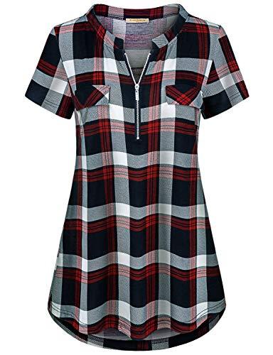 Baikea Red Blouses for Women, Ladies Round Neck Short Sleeve Summer Tunic Half Zipper Flare Hem Slim Fit Knitted Tops Simple Regular Soft Work Plaid Shirts Blue M