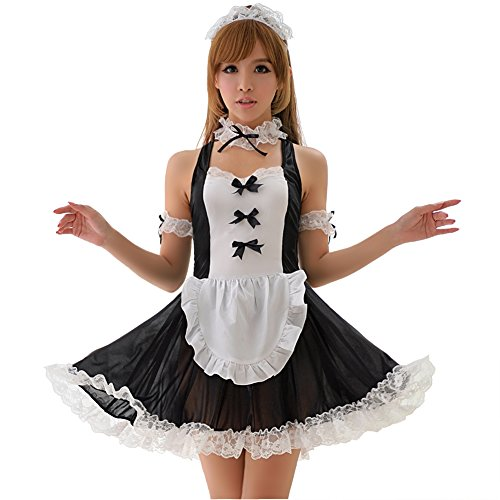 Lingeriecats Sexy Black and White Bow Knots Lace Halter 4pcs Maid Cosplay Costume Set
