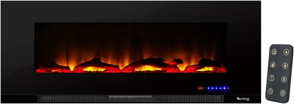 e-Flame USA Livingston 50-inch Wall Mount LED Electric Fireplace Stove with Timer - 3-D Log and Fire Effect