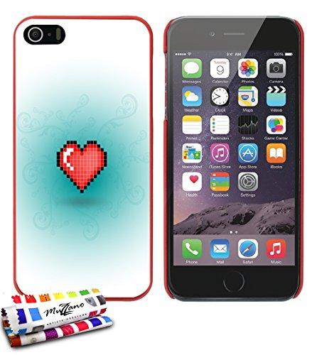 Ultraflache weiche Schutzhülle APPLE IPHONE 5S / IPHONE SE [Herz-pixel-rot] [Rot] von MUZZANO + STIFT und MICROFASERTUCH MUZZANO® GRATIS - Das ULTIMATIVE, ELEGANTE UND LANGLEBIGE Schutz-Case für Ihr A