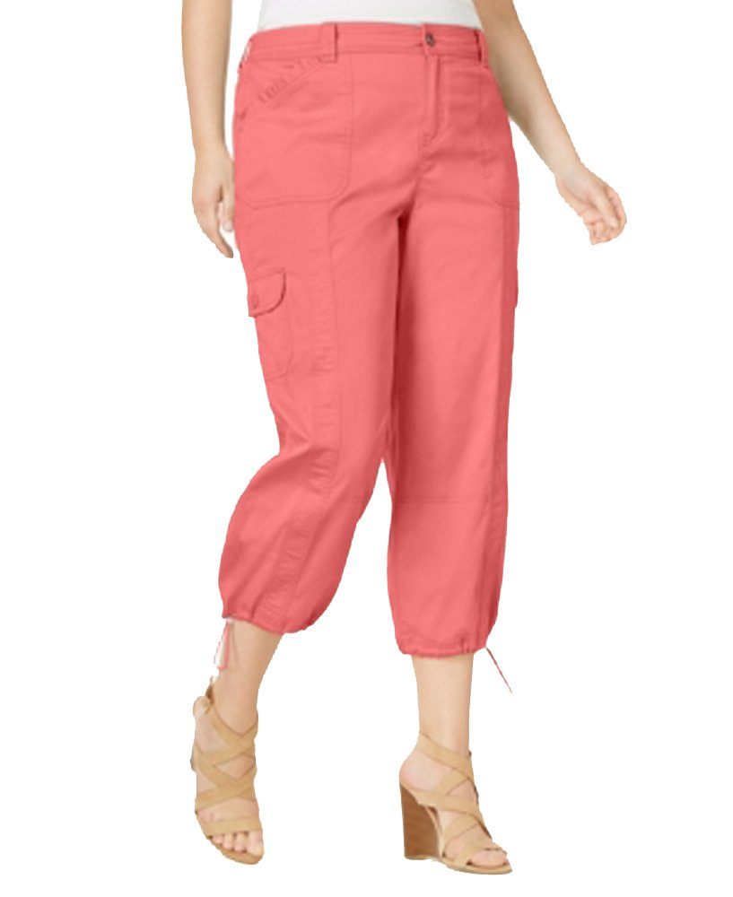 Style & Co. Plus Size Capri Cargo Pants in Coral Cove (24W)