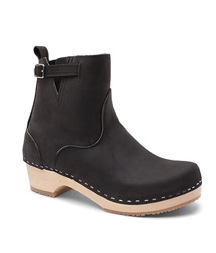 d48cd5db464 Sandgrens Swedish Low Heel Wooden Clog Boots for Women | New York Black, EU  36