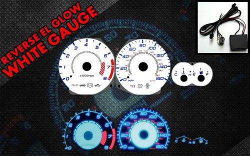 Brand New White Face Blue Indigo Reverse Glow Gauges For 03-08 Tiburon w/ RPM (I-332)