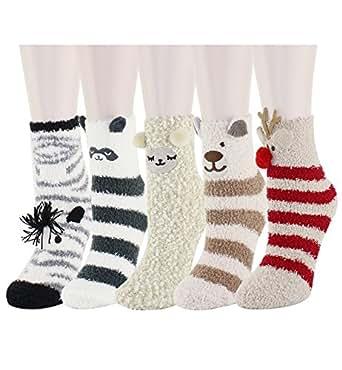 5 Pack Colorful Indoors Fluffy Fuzzy Slipper Socks, Cute Animal Deer, Sleep Sheep, Zebra, Raccoon and Bear Cartoon Crew Winter Socks for Women Girls
