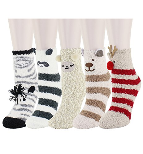5 Pack Colorful Indoors Fluffy Fuzzy Slipper Socks, Cute Animal Deer, Sleep Sheep, Zebra, Raccoon and Bear Cartoon Crew Winter Socks for Women Girls