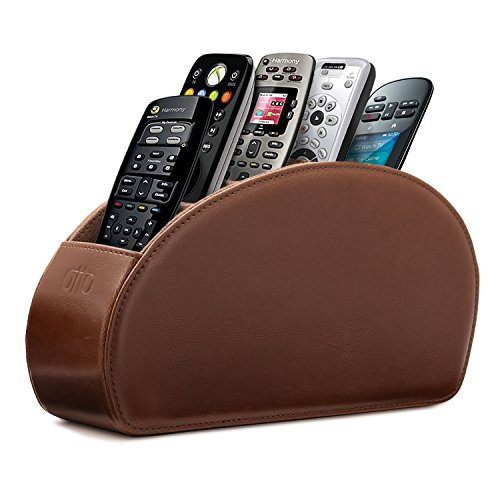 Otto Remote Control Holder with 5 Pockets - Store DVD, Blu-Ray, TV, Roku or Apple TV Remotes - PU Leather with Suede Lining - Slim, Compact Living or Bedroom Storage