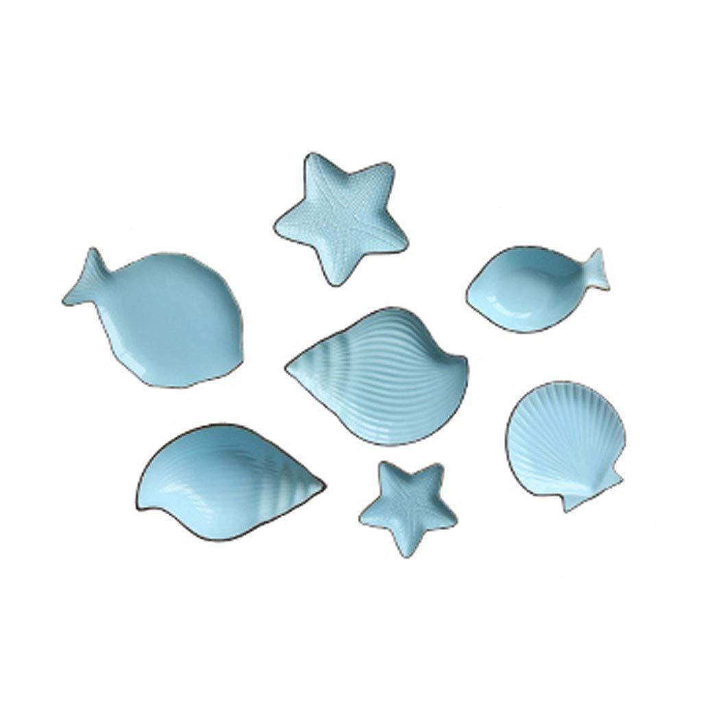 地中海魚新骨中国釉薬加工プレートフルーツプレートボウル7個カトラリーセット (色 : 青) B07KQSZCDB  青