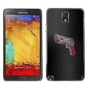 Qstar Arte & diseño plástico duro Fundas Cover Cubre Hard Case Cover para SAMSUNG Galaxy Note 3 III / N9000 / N9005 ( Pistol Gun Lord Evil Devil Shoot Fight Slogan)