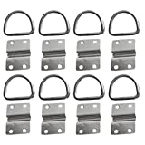 MonkeyJack 8 Pieces 316 Stainless Steel Lashing D Ring & Staple Cleat Tie Down for Horsebox Trailer Vans Truck Boat Rope Securing Anchor Point