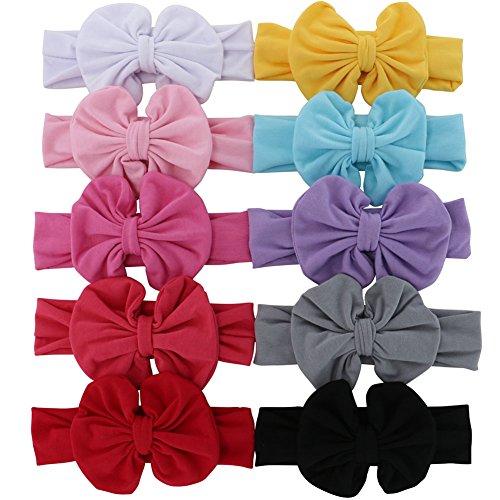 QingHan® Baby Girl bandeaux élastiques avec cheveux boucles Pack de 10