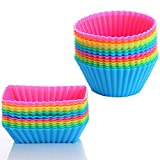 Silicone Cupcake Cups Liners 24 Pack Reusable Silicone Muffin Baking Cups Rainbow Bento Cups by Cherbell