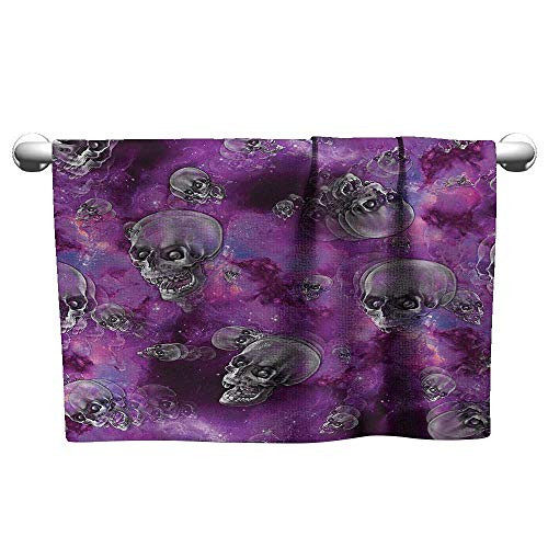 alisoso Skull,Wholesale Towels Horror Movie Thirller Themed Flying Skull Heads Halloween in Outer Space Image Fade-Resistant Black and Purple W 35