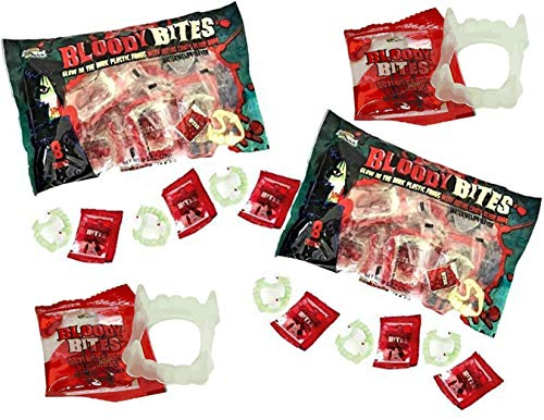 Bloody Bites Oozing Halloween Candy Blood Bags with Glow in the Dark Fangs Watermelon Flavor - 2 Bags - 16 Packs for $<!--$9.49-->