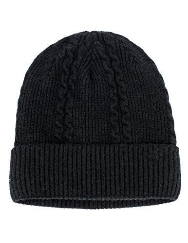 Dahlia Men's Cable Angora Blend Beanie Hat - Warm Velour Lined - Black -