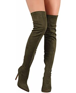 CAMSSOO Women's Thigh High Stretch Boots Side Zipper Pointy Toe Stiletto  Heel Knee High Boots