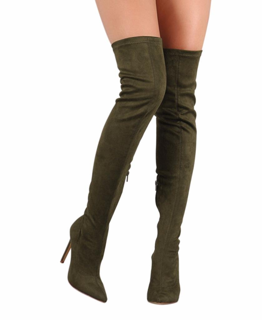 CAMSSOO Women's Thigh High Stretch Boots Side Zipper Pointy Toe Stiletto Heel Knee High Boots CM6128-TS18A