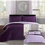 New Full / Queen Bed Luxury 3-piece Dark Purple / Light Purple Reversible Bedspread Coverlet set Solid Embossed Bedding