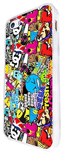 589 - Stickerbomb Cartoon Design iphone SE - 2016 Coque Fashion Trend Case Coque Protection Cover plastique et métal - Blanc