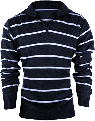 Enimay Men's Business Casual Fashion Half Zip Striped Long Sleeve Sweater Jacket Navy Small ()