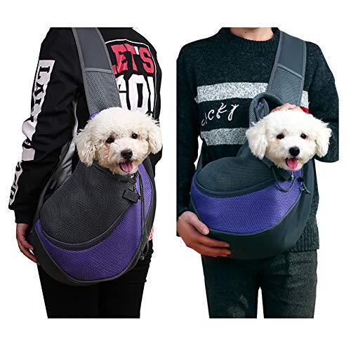 Qchengsan Pet Sling Carrier,Dog Cat Sling Bag Shoulder Carry Bag Dog Pets Travel Carrier Bag Hand Free Pet Travel Shoulder Bags (S, Purple)