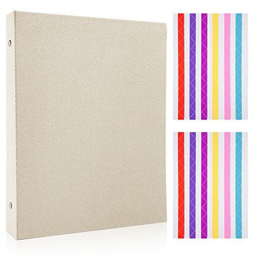 Woodmin Burlap Photo Album DIY Scrapbook Album Wedding Guestbook Manual Anniversary Photo Album Gift (Beige Cotton) Plastic Frame Free Pouch
