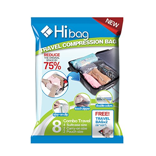 Hibag Space Saver Travel Bags, 8 Pack Reusable Travel Storage Bags (4 X Suitcase Size, 2 X Carry-on Size, 2XPouch Size) with 2 Free Roll Up Bags (Carry-on Size), No Vacuum or Pump Needed (8-Travel)