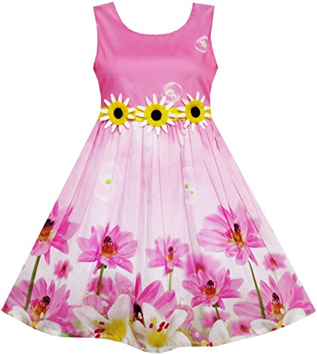 HN24 Girls Dress Sunflower Bubble Lily Flower Garden Print Size ()