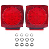 DasMarine 2pcs 12V Submersible LED Square Red White Stop Turn Tail Light IP68 Camper Truck RV Boat (Turn/Stop/Signal - Left/Right-DOT Compliant) (Without Hardwar Kit)