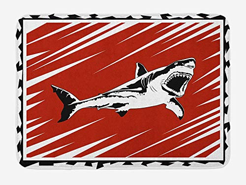 Shark Bath Mat, Killer Sea Creature Swimming in The Ocean in Grunge Stylized Graphic, Plush Bathroom Decor Mat with Non Slip Backing, 23.6 W X 15.7 W Inches, Black White Burnt Sienna
