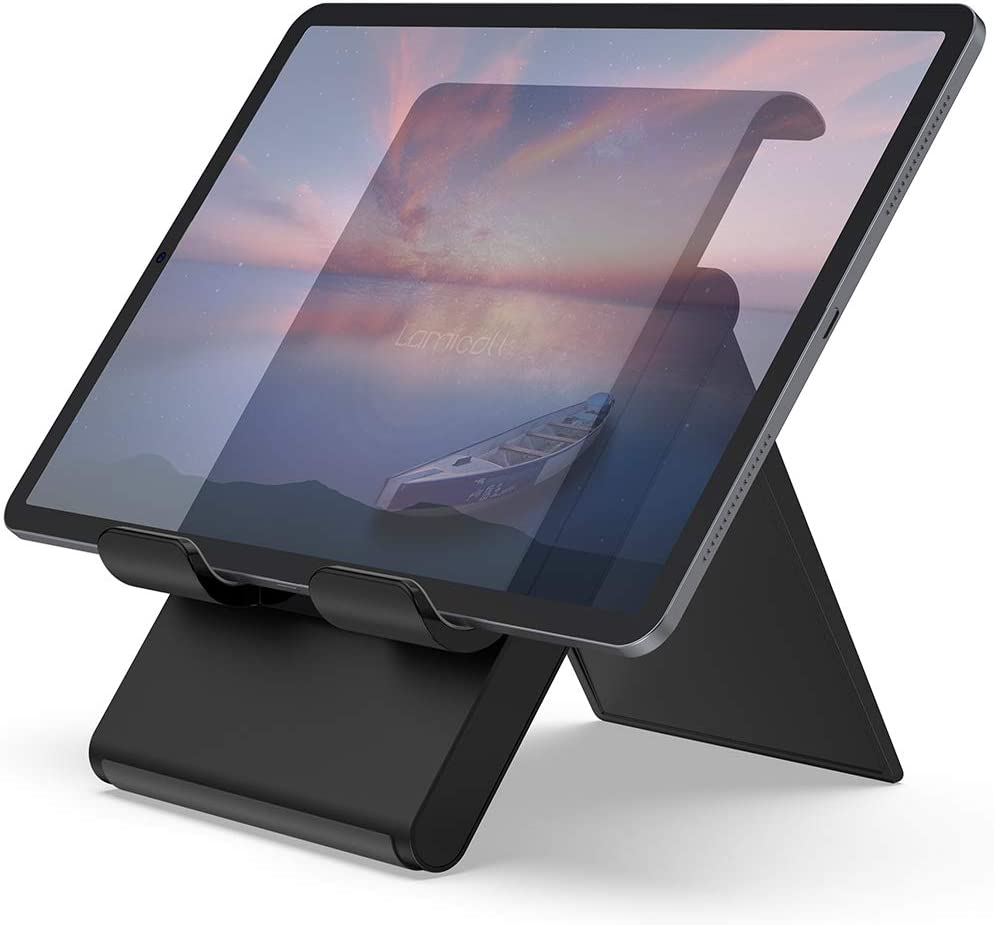 "Lamicall Adjustable Tablet Stand Holder - Foldable Desktop Stand Charging Dock for Desk Compatible with iPad Air Mini Pro 9.7,12.9, Phone 11 XS Max XR X Plus Samsung S10 S9 S8 Smartphones(4-13"")"