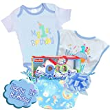 Little Wishes ''Happy 1st Birthday'' Deluxe Baby Boy Gift Basket Featuring Bodysuit, Bibs and Toys (Blue)