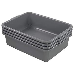Farmoon 13L Commercial Bus Tub, Grey Wash Basin Tote Box, 4 Packs