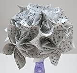 6 Hymnal Kusudama Flowers, 4'' Flowers on Stems, Christian Song Book Pages, Popular Lily Origami Floral Bouquet