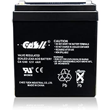 Amazon.com: Casil CA1240 Genuine 12V 4Ah SLA Alarm Battery ...