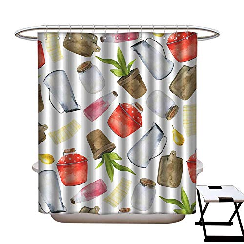 Shower Curtain Art Print Polyester Watercolor Background with Yellow pear Cutting Board red Cooking Pot Towel Metal and Glass Jars Flower Pot Shower CurtainW69 x L75