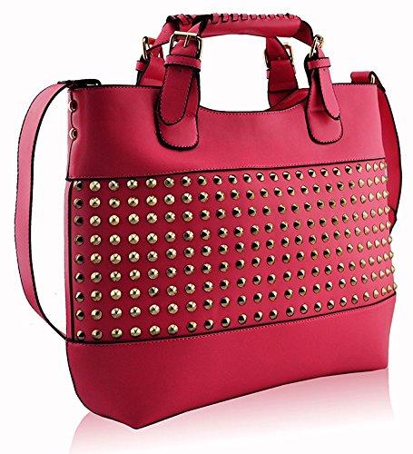 ANNA GRACE - Bolso al hombro de piel sintética para mujer Design 5 - Pink